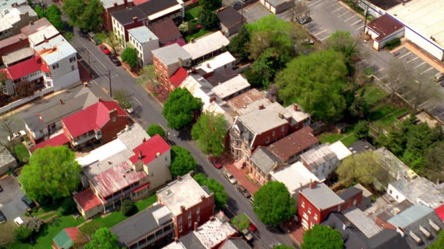 aerial point of view over residential area of baltimore, maryland - terraced house stock videos & royalty-free footage