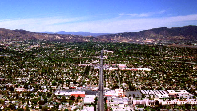 Aerial point of view over San Fernando Valley / Los Angeles