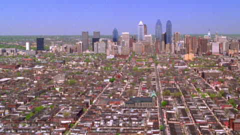 aerial point of view towards and over downtown philadelphia / pennsylvania - 1999 stock videos & royalty-free footage