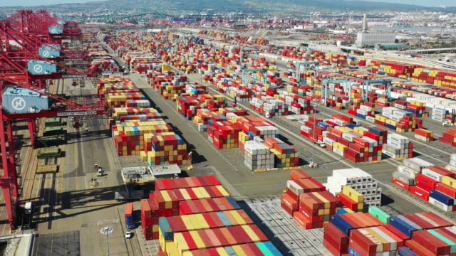 aerial port of long beach container yard - unloading stock videos & royalty-free footage