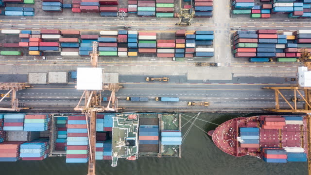 aerial port with containers ship - loading stock videos & royalty-free footage