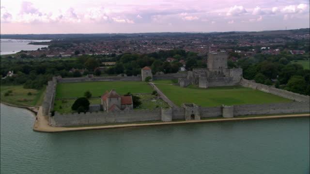 Aerial Portchester Castle/ Portsmouth, England
