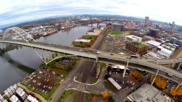 aerial portland nw industrial - portland oregon fall stock videos & royalty-free footage