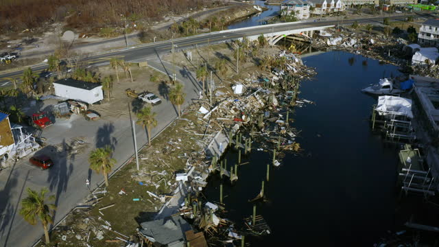 aerial, pov, aftermath of the hurricane michael, mexico beach, fl, usa, 2018 - damaged stock videos & royalty-free footage