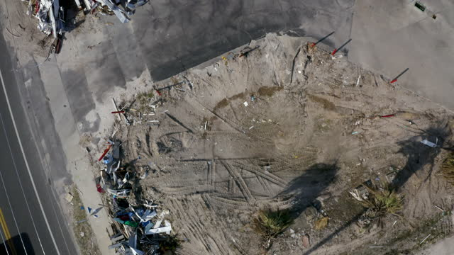 aerial, pov, aftermath of the hurricane michael, mexico beach, fl, usa, 2018 - emergencies and disasters stock videos & royalty-free footage