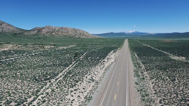 aerial, pov, an empty highway 50, nevada, usa - simplicity stock videos & royalty-free footage