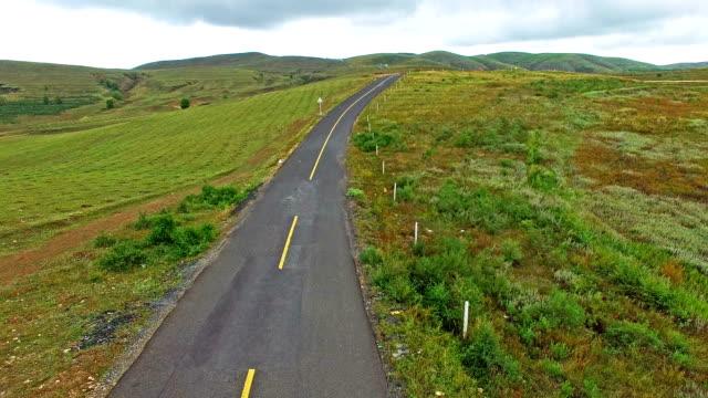 Aerial prairie highway