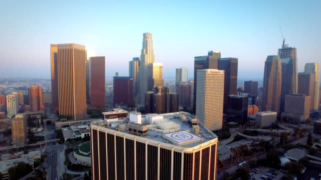 aerial pull of downtown los angeles california - staples centre stock videos & royalty-free footage