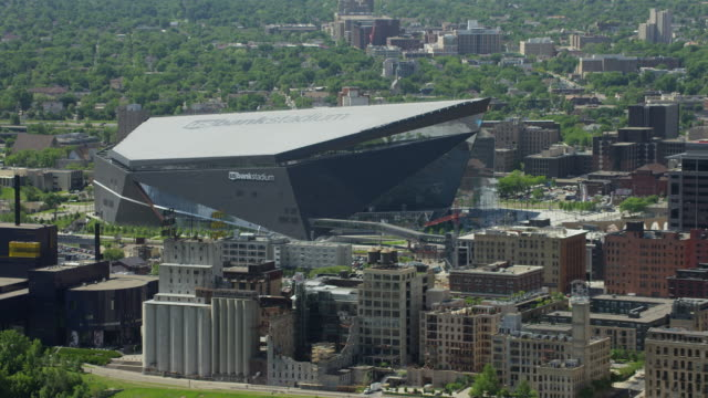 Aerial Pull Out From Minneapolis Stadium