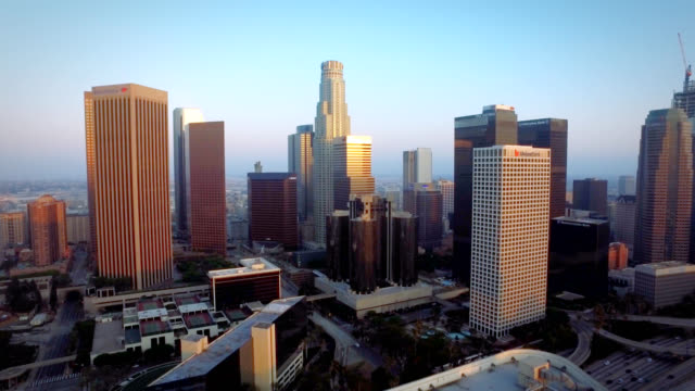 Aerial push of downtown Los Angeles California