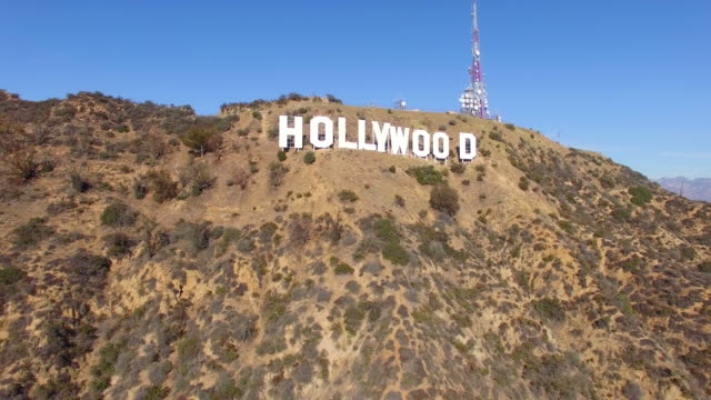 Aerial push-out the Hollywood Sign from the close distance