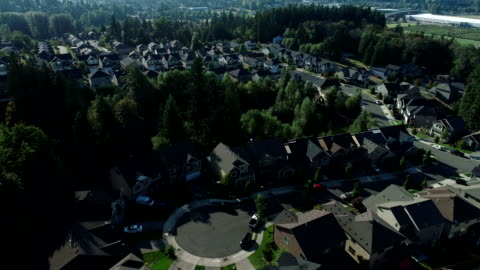 aerial puyallup summer road cars forest washington domestic area - pierce county washington state stock videos & royalty-free footage