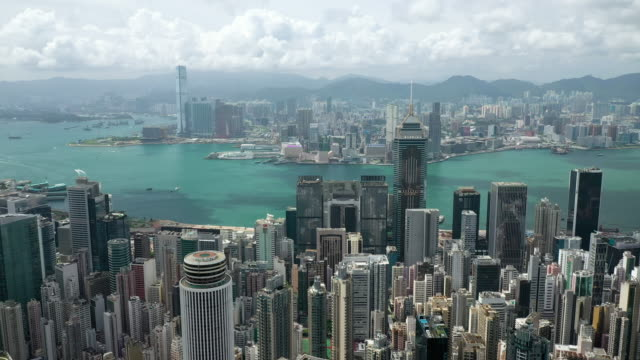 luft-real-zeit von hong kong stadtbild - high dynamic range imaging stock-videos und b-roll-filmmaterial