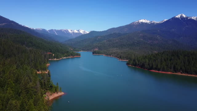 aerial, remote lake in california - wide stock videos and b-roll footage
