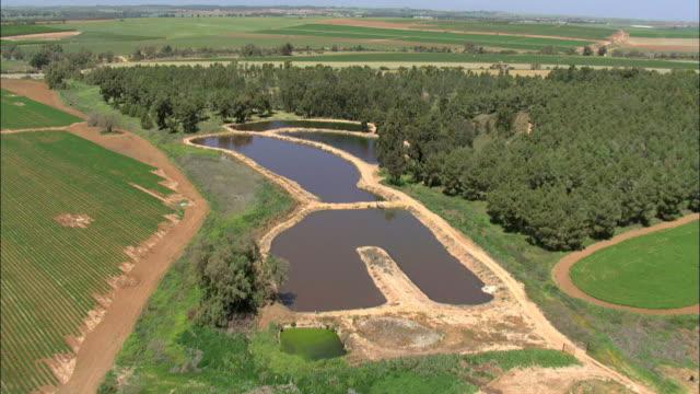 aerial reservoirs in negev desert, negev, israel - ネゲブ点の映像素材/bロール