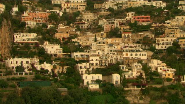 Aerial residences on coast of Positano / Italy