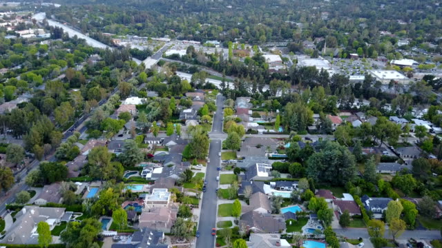 aerial residential neighborhood - pasadena california stock videos & royalty-free footage