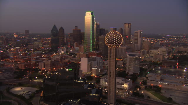 Aerial WS Reunion Tower and downtown skyscrapers / Dallas, Texas, USA