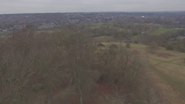 aerial reveal of winchester from st catherine's hill - hampshire england stock videos and b-roll footage