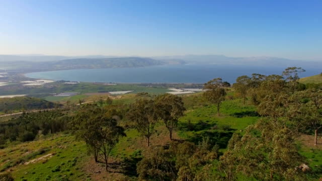 Aerial Revealing /Sea of Galilee in the background, Lower Galilee, Israel