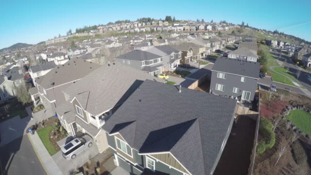 aerial reveals suburbia - suburban stock videos & royalty-free footage