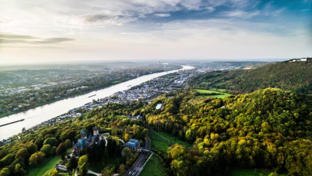 aerial rhein von siebengebirge - rhein stock-videos und b-roll-filmmaterial
