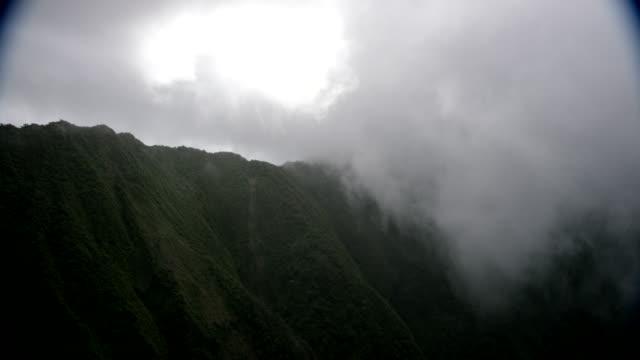 aerial ridgetops w/low clouds, kauai, hawaii - kauai stock videos & royalty-free footage