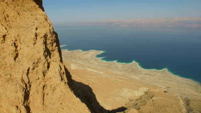 Aerial/ rift valley cliffs, Dead sea, Israel