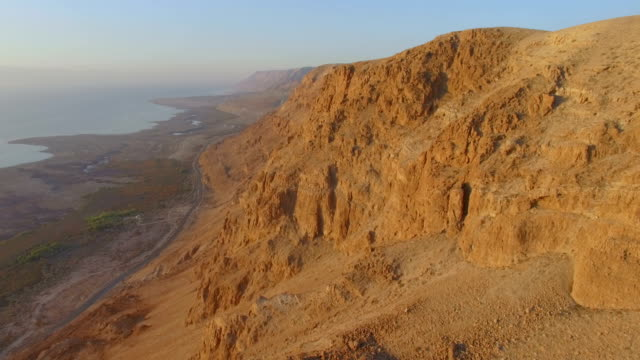 Aerial/ rift valley cliffs, Dead sea, Judea Desert, Israel