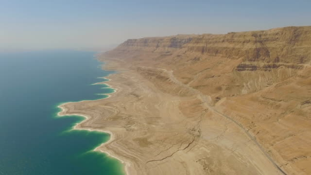 Aerial/ rift valley cliffs, Dead sea, Judea Desert