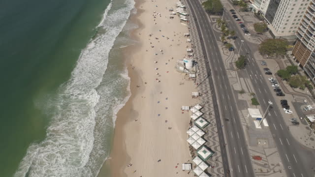 aerial - rio de janeiro - copacabana stock videos & royalty-free footage