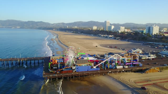 Aerial: Rising of Santa Monica Pier
