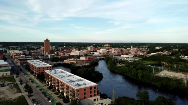 aerial rising view of fox river near aurora illinois - illinois stock videos & royalty-free footage
