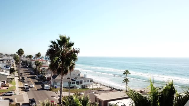aerial rising view of palm trees and a ocean shore by highway 1 in oceanside california - oceanside stock videos and b-roll footage