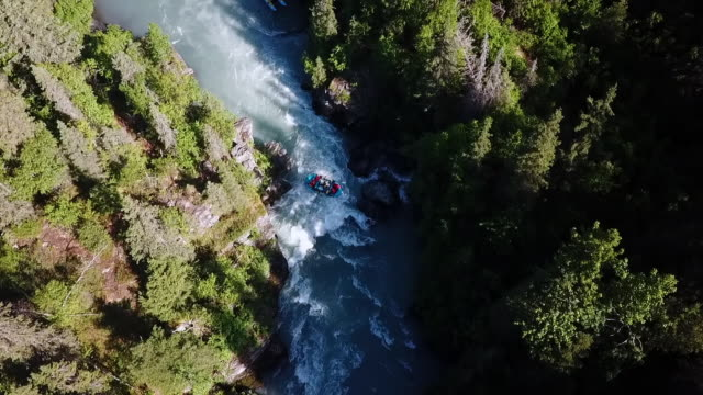 Aerial: River Rafting Down White Water