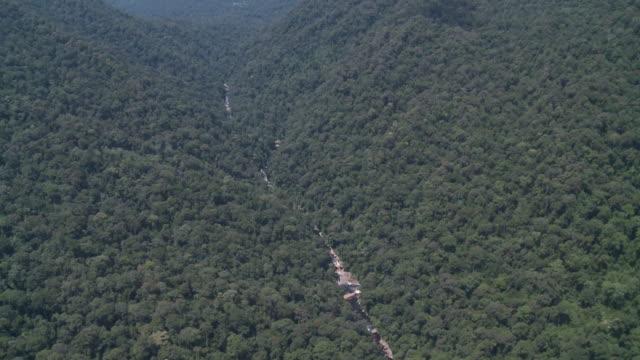 Aerial river valley through jungle, Maliau Basin, Sabah, Malaysia, Borneo