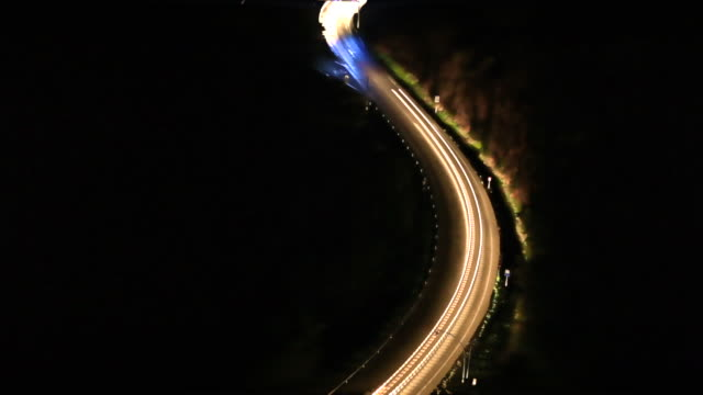 aerial road at night with light trail effect - tracery stock videos and b-roll footage