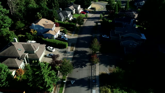 stockvideo's en b-roll-footage met aerial road cars forest summer puyallup washington binnenlands gebied - staat washington