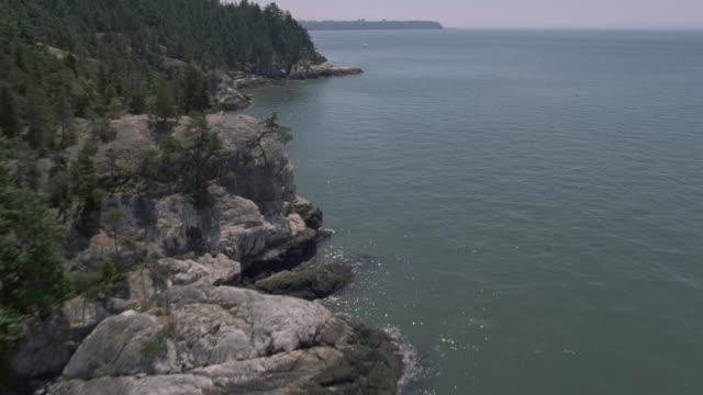 aerial rocky pacific canadian coastline - coastline stock videos & royalty-free footage