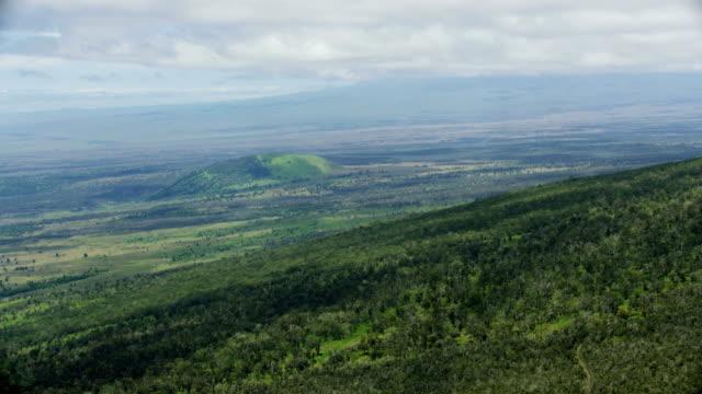aerial rolling landscape gentle slopes of mauna kea - ハワイ島点の映像素材/bロール