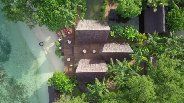 aerial: rooftop of a beach hut in espiritu santo, vanuatu - beach house stock videos & royalty-free footage