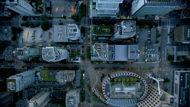 aerial rooftop view downtown vancouver british columbia canada - vancouver stock-videos und b-roll-filmmaterial