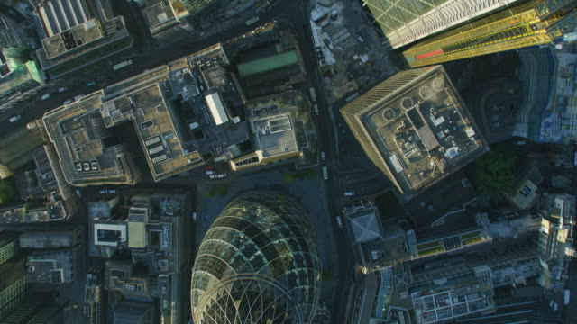 aerial rooftop view london city financial district sunrise - city of london stock videos & royalty-free footage