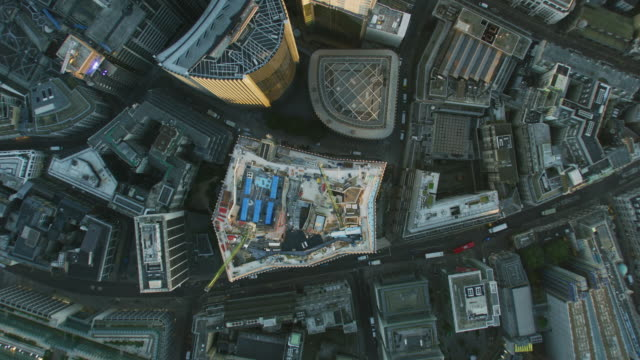 aerial rooftop view london city skyscrapers at sunrise - city of london stock videos & royalty-free footage