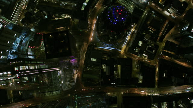 aerial rooftop view skyscraper lights at night london - moving image stock videos & royalty-free footage