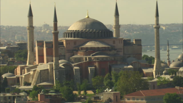 aerial ha rotate around hagia sofia mosque - hagia sophia istanbul stock videos & royalty-free footage