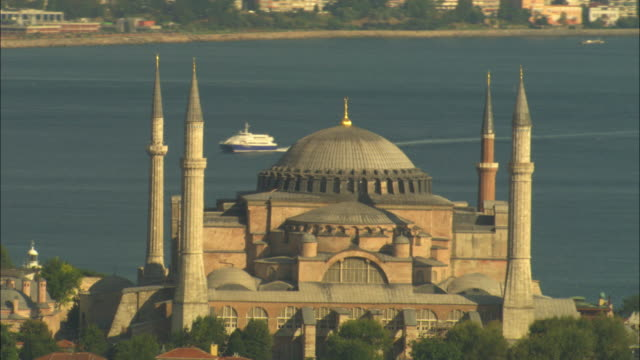 aerial rotate around hagia sophia with sea in background - hagia sophia istanbul stock videos & royalty-free footage