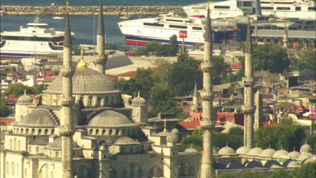 aerial cu rotate around minarets and dome of suleymaniye mosque - suleymaniye mosque stock videos and b-roll footage
