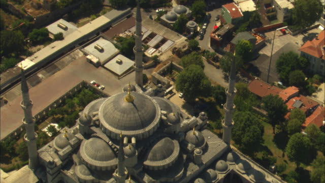 aerial rotate around suleymaniye mosque - suleymaniye mosque stock videos and b-roll footage
