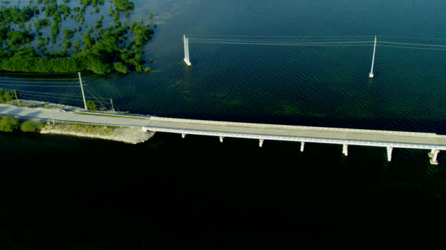 aerial route us 1 highway key largo florida - inlet stock videos & royalty-free footage